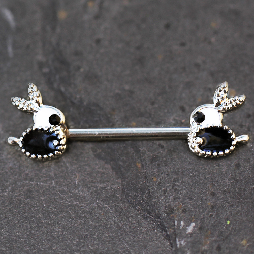 316L Stainless Steel Jeweled Bunny Nipple Bar