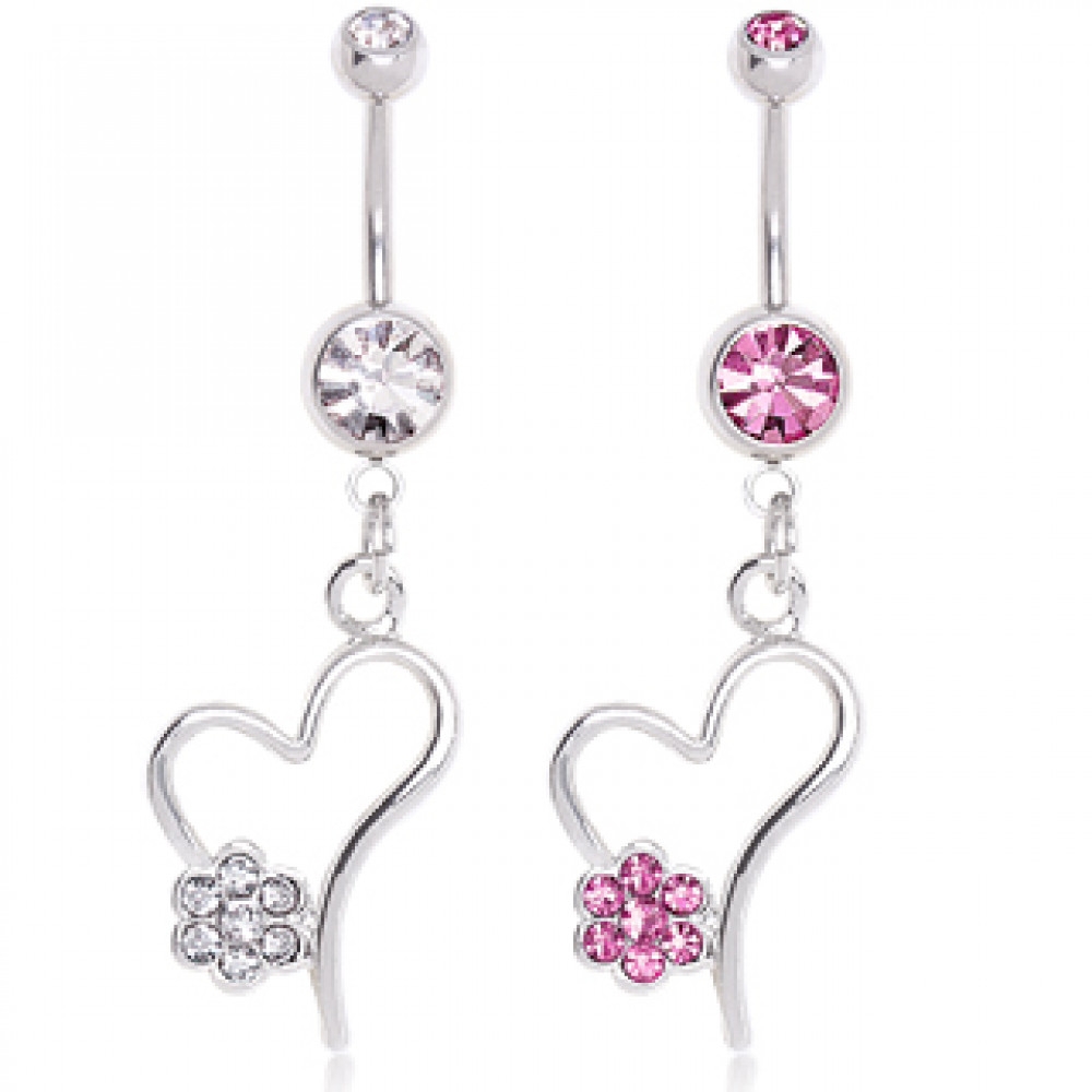 7e9ede4ca 316L Surgical Steel Heart with Gem Flower Dangle Belly Button Navel Ring